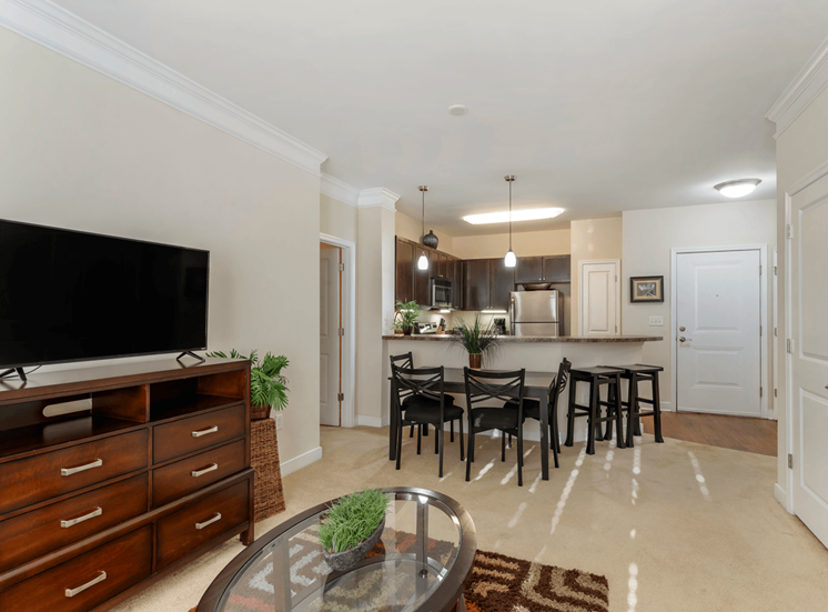 Open Model Floor Plan with TV on CHest of Drawers, Dining Table and Kitchen with Breakfast Bar