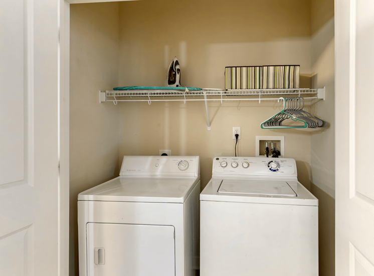 Full Sized Washer and Dryer in Utility Closet with Decorations