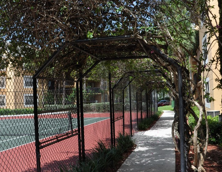 Walkway next to tennis court surrounded by mature trees