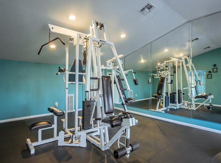 Fitness Center Strength and Conditioning Equipment in Front of Mirror Accent Wall