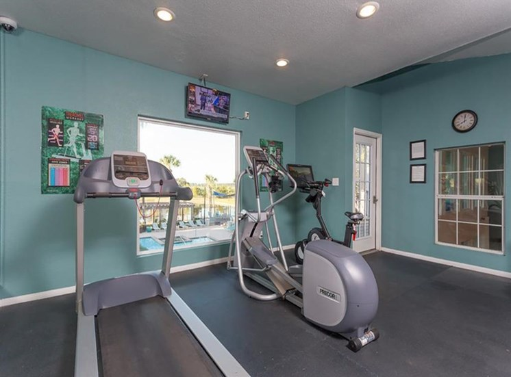 Fitness Center Cardio Equipment in Front of Windows