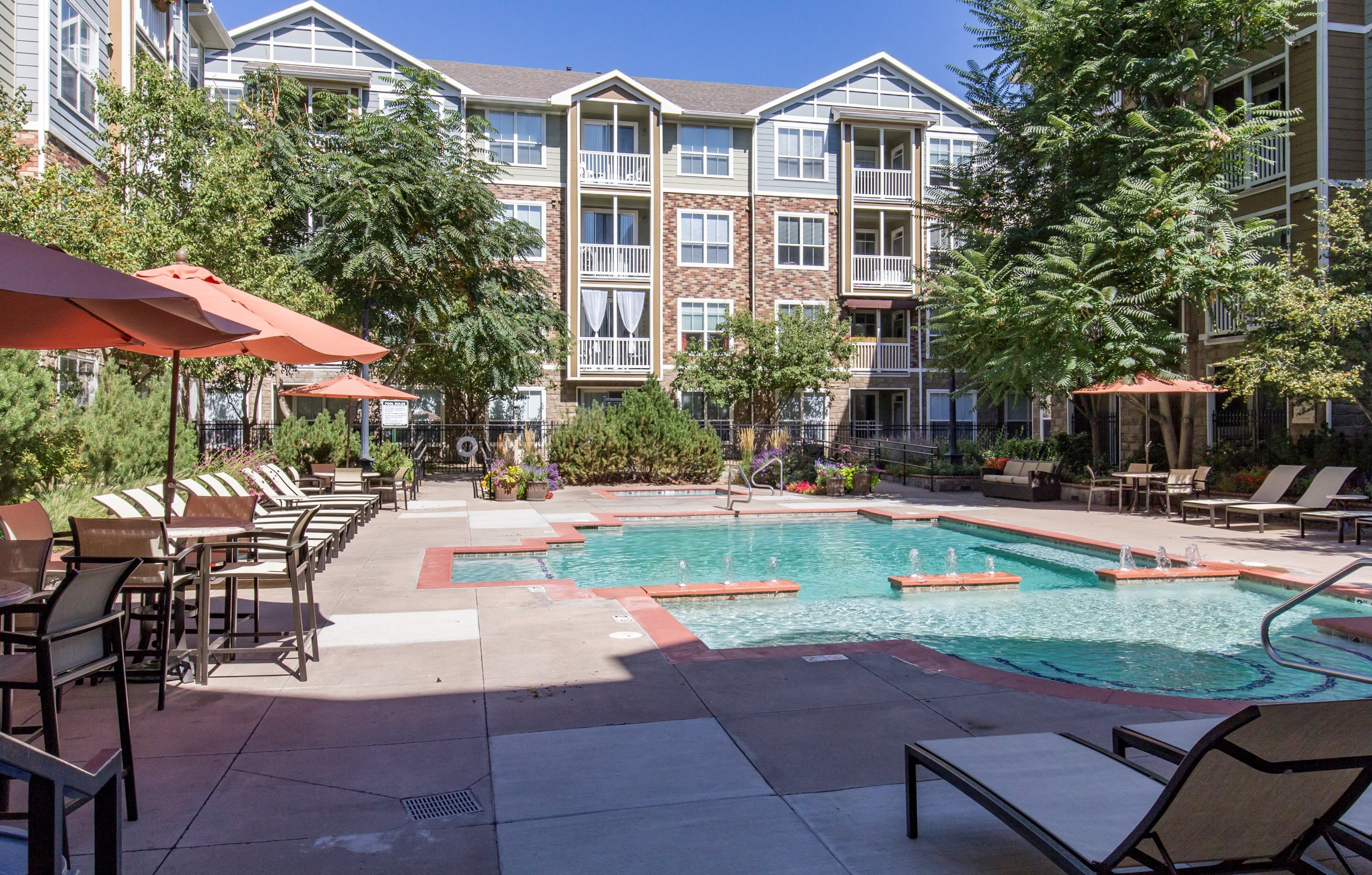 Colorado Pointe Apartments Pool With Loungers