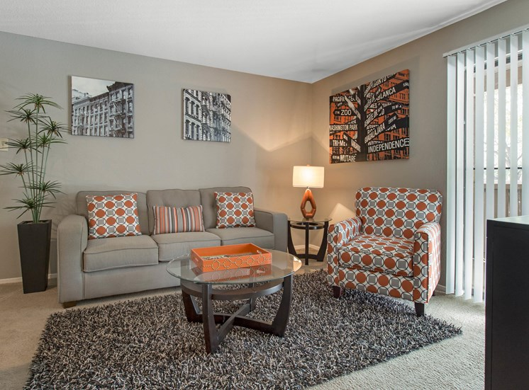 Living room with gray and orange color scheme, view of the patio with white blinds, a side table in the corner with an orange lamp, and a gray rug