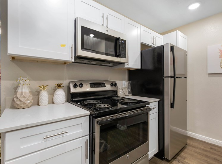 Fully equipped kitchen with brushed nickel appliances and a white and gray backsplash