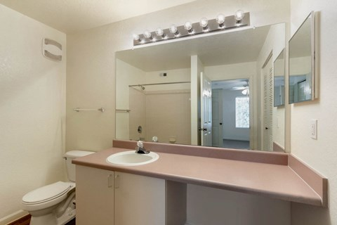 Bathroom with Mauve Counter with White Cabinets Medicine Cabinet and Bedroom Visible in the Mirror
