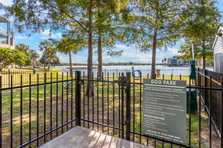 Dog park entrance with view of the lake in the background