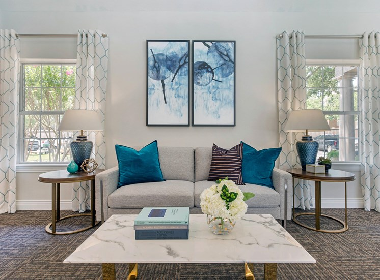 Clubhouse Lounge Area with teal and purple accent colors