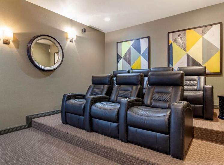 Resident Theater Room with Leather Recliners, Raised Floors and Art on Walls