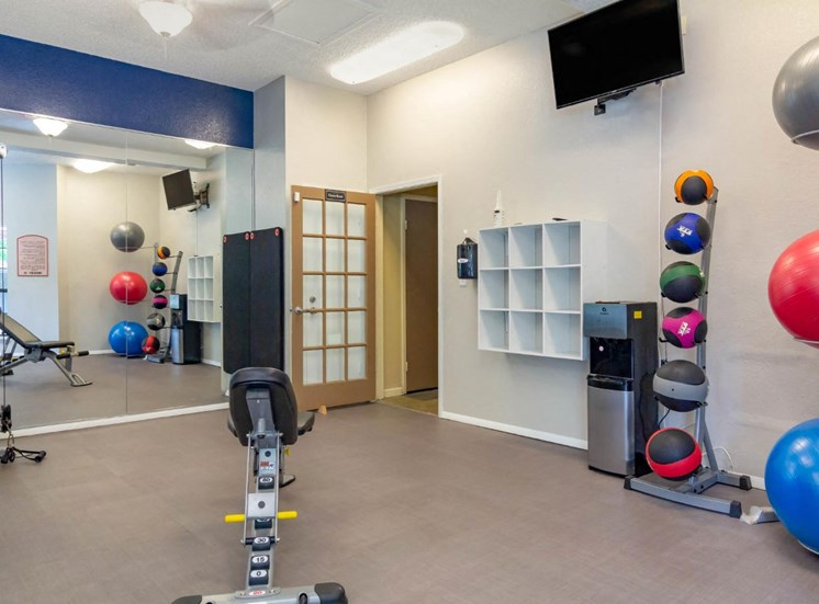 Fitness center with equipment and a mirror wall. cubies next to a water fountain . A mounted tv above the water fountain . a stack of exercise balls of different sizes