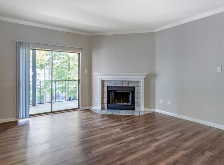 Living room with hardwood style flooring, fireplace, and oversized windows in the background