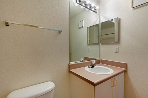 Bathroom with Mauve Counter with White Cabinets Medicine Cabinet