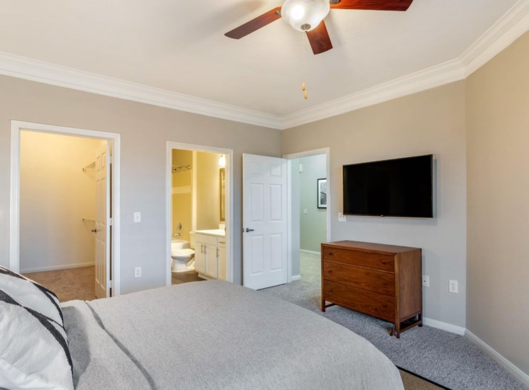 Model Bedroom with Contemporary Furniture, Walk in Closet, En Suite Bathroom and Mounted TV