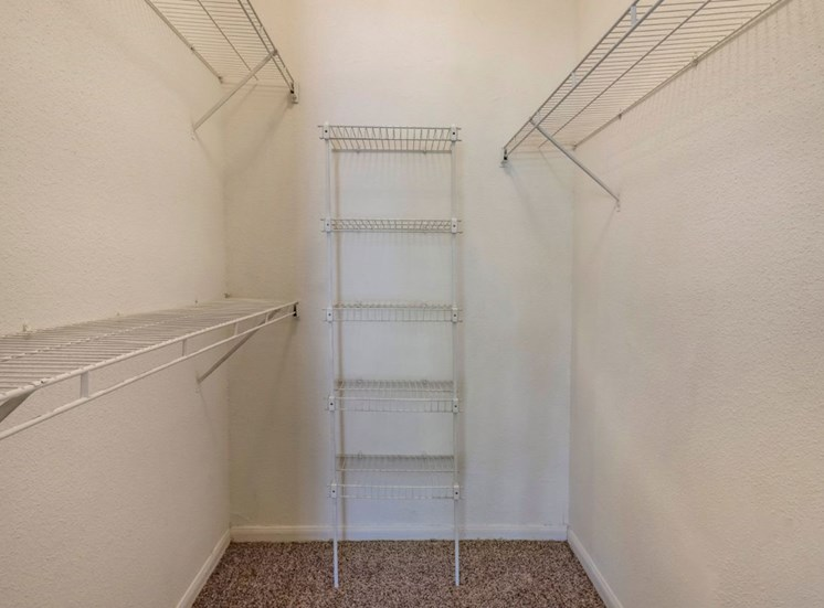 Closet interior with built-in shelving