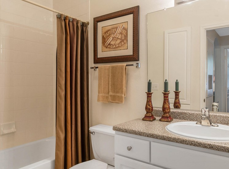 Model Bathroom with Decorations Tan Counters and White Cabinets