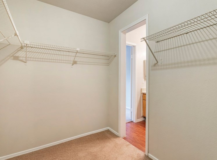 Walk in closet with built in storage