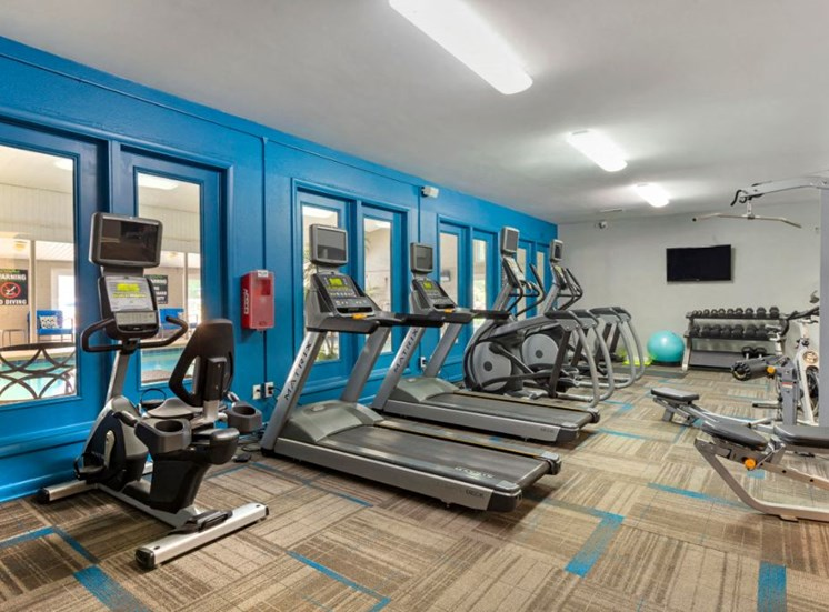 Fitness Center with Cardio Equipment Along Blue Accent Wall with Windows