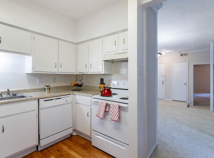 Kitchen with White Appliances and White Cabinetry