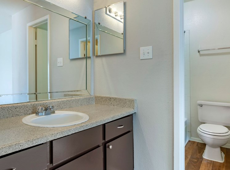 En-suite bathroom with vanity lights and espresso colored cabinets