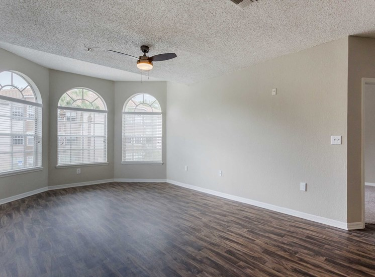 Open Room with Hardwood Style Flooring and Large Windows