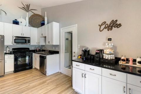 Clubhouse Kitchen with Coffee Bar