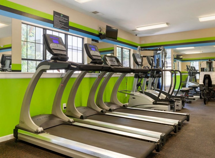 Fitness Center with Green Accent Wall and Stripes Exercise Equipment Mirror Accents and Windows