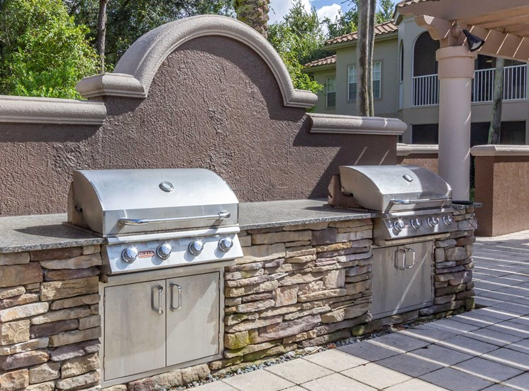 Summer Kitchen Grilling Station in Front of Decorative Wall