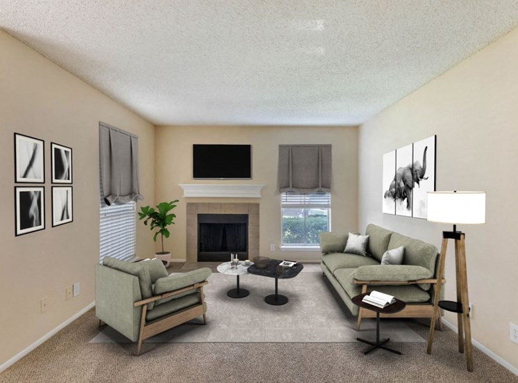 Rendering of living room with couches, lamps, fireplace, and mounted tv