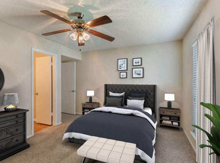 Furnished bedroom with bed, ceiling fan, frame photos, and dresser