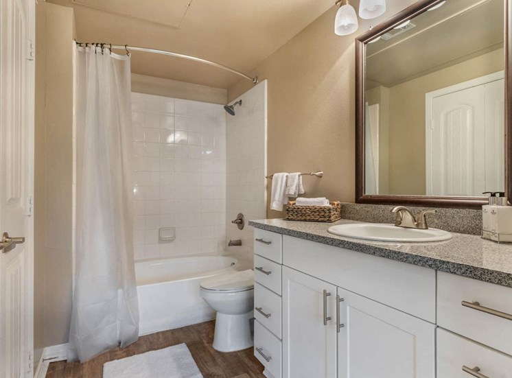 Bathroom with white shower curtain, hardwood style flooring, vanity lights, and large counter space