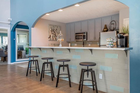 Clubhouse Kitchen with Breakfast Bar with Grey Cabinets and Stainless Steel Appliances