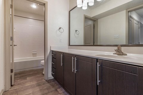 Bathroom with Brown Cabinets White Counter and Separate Bathtub