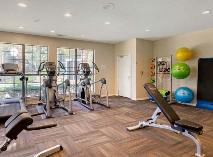 Fitness center with a blue, yellow, and green workout ball in the background and a treadmill next to an elliptical