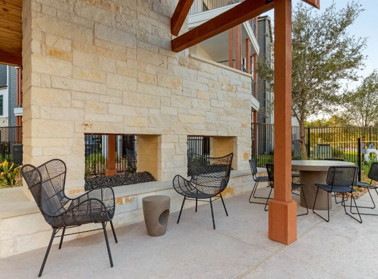 Outdoor Fireplaces with Chairs and Tables
