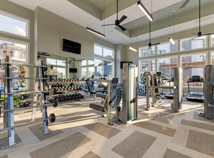 Bright Cardio and Fitness Center with Exercise Equipment