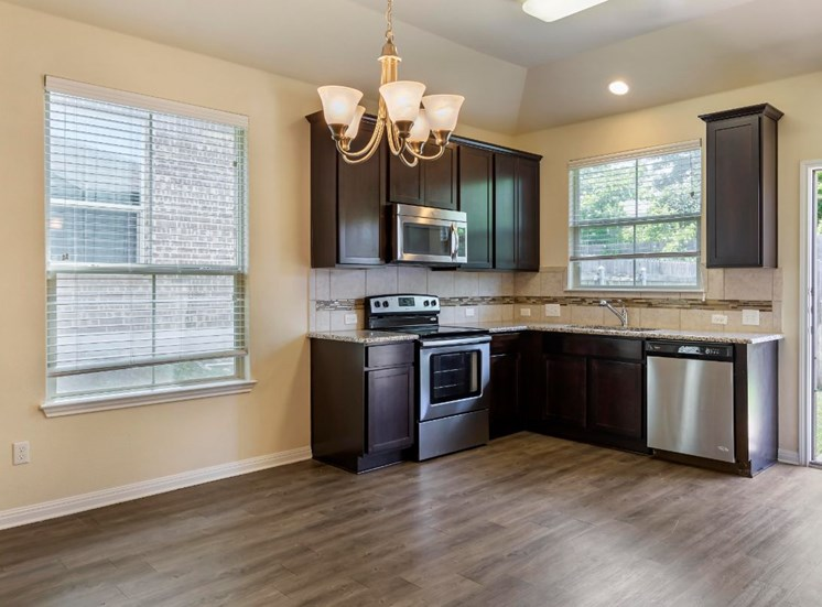 Kitchen with Hardwood Style Flooring