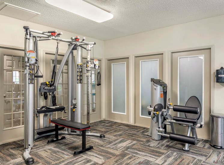 Fitness center with multi-purpose machine, windows, and patterned carpet