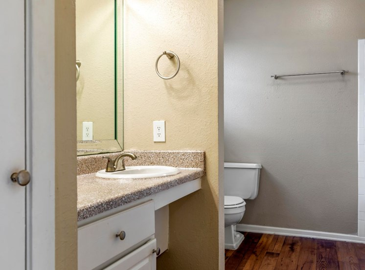 Bathroom with hardwood style flooring, towel bar, sink, and drawers for storage