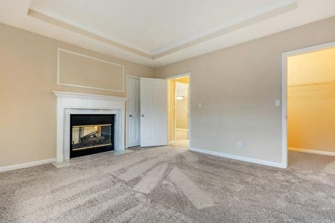 Carpeted Room with Fireplace and Walk in Closet