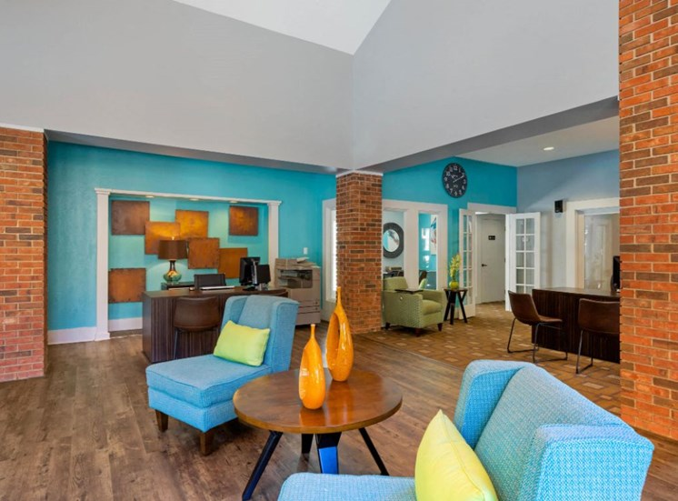 Clubhouse with Blue Walls and Brick Accent Walls