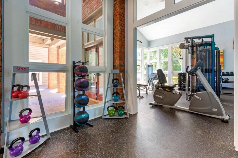 Fitness Center with Exercise Equipment  and Windows