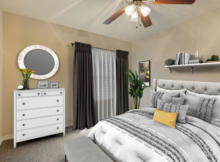Virtual rendering of bedroom with gray and white bedroom set, shelf with decorations above the bed, ceiling fan, and a white dresser with yellow flowers on top