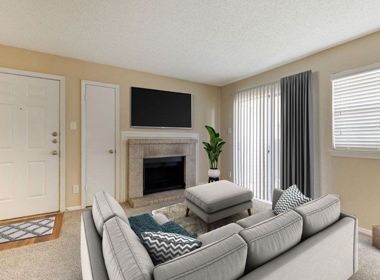 Virtual rendering of living room with television mounted above the fire place, gray and white curtains, gray couch, and an