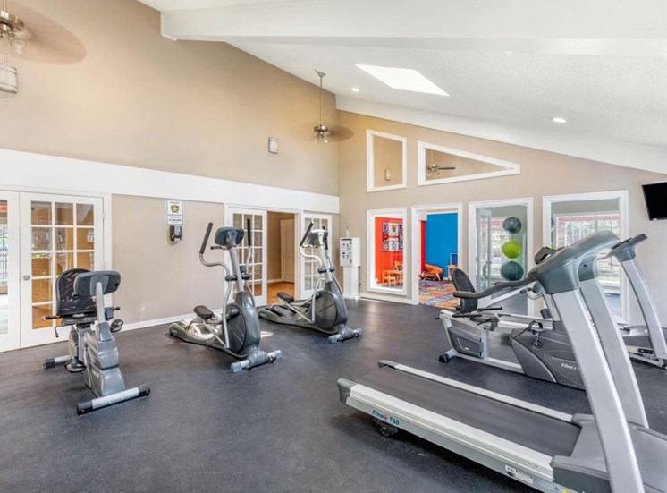 Fitness center with treadmills and spinning stations