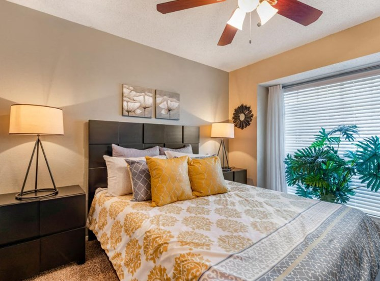Decorated Bedroom with Ceiling Fan