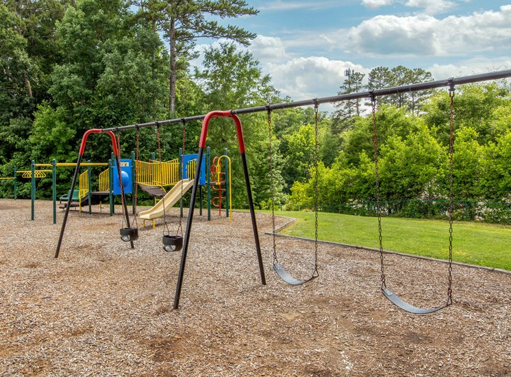 Colorful Playground with Swing Set on Mulch with Treeline in the Background