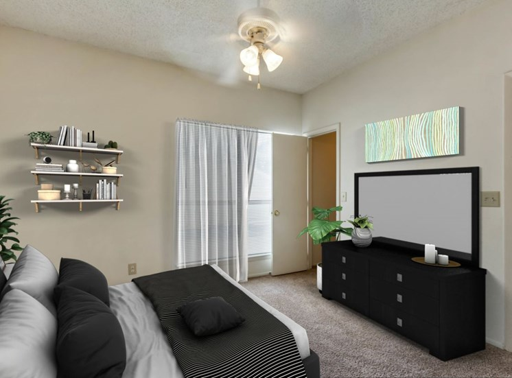 Carpeted Bedroom with Virtually Staged Bed, Dresser and Decorations