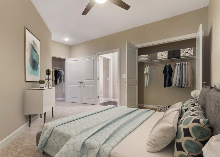 Furnished bedroom, closet with french doors, ceiling fan, blue and white color scheme