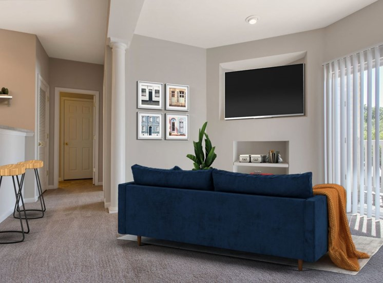 Carpeted Living Room with Vrtually Placed Couch and Bar Stools with Virtually Placed TV in Built in Entertainment Center