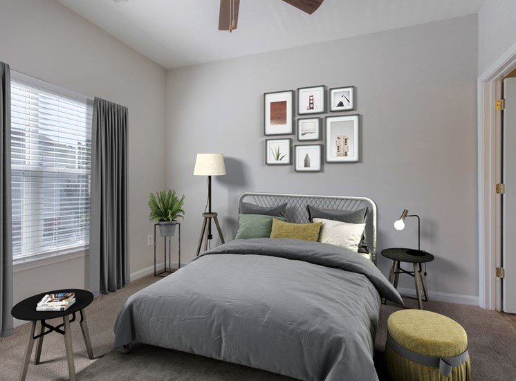 Carpeted Bedroom with Virtually Staged Bed and Decorations
