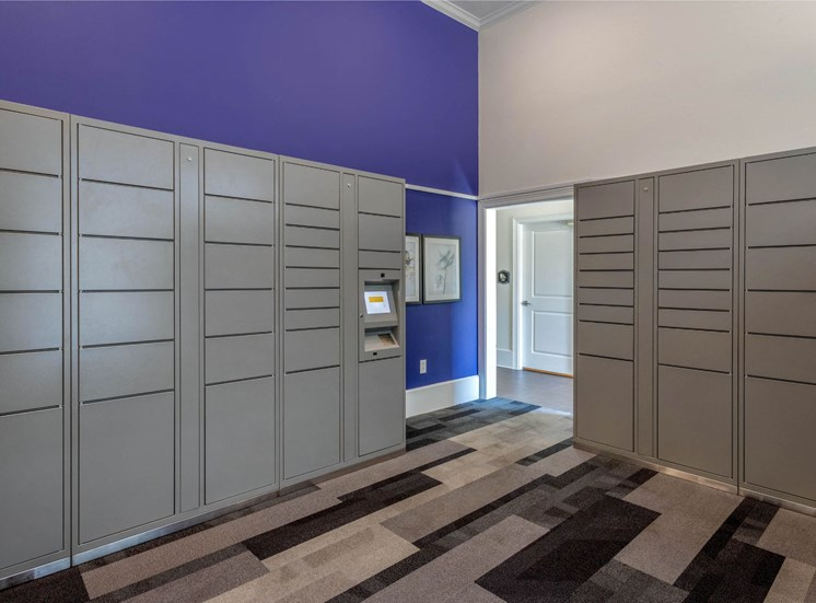 Package Center with Electronic Package System and Purple Accent Wall
